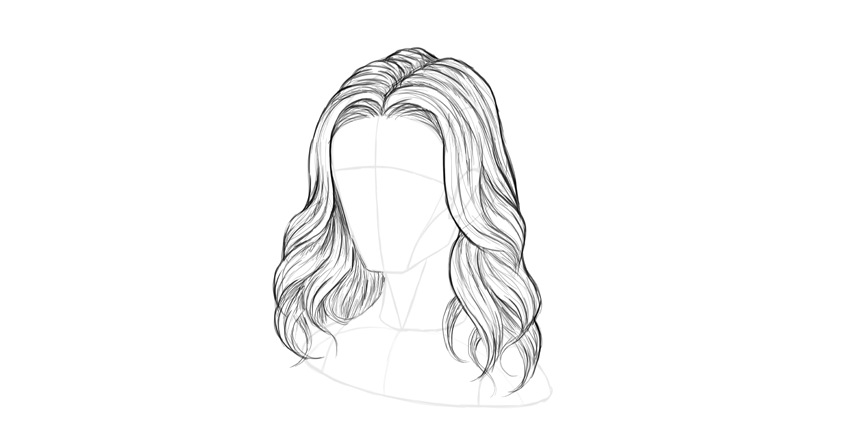 Wavy hair soft outline