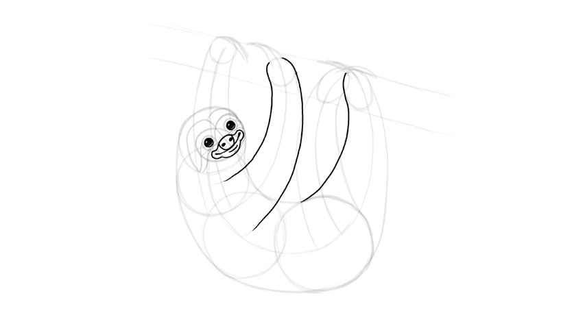 how to draw a sloth face step by step