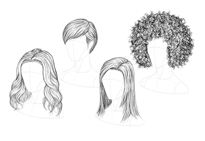 How to draw hair preview