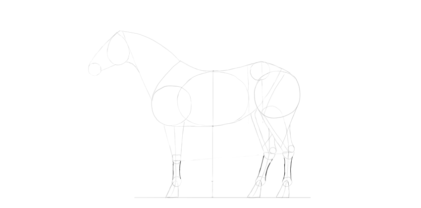 horse drawing hand feet