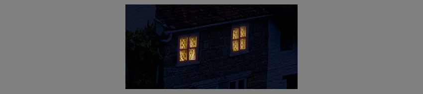 bright windows in dark