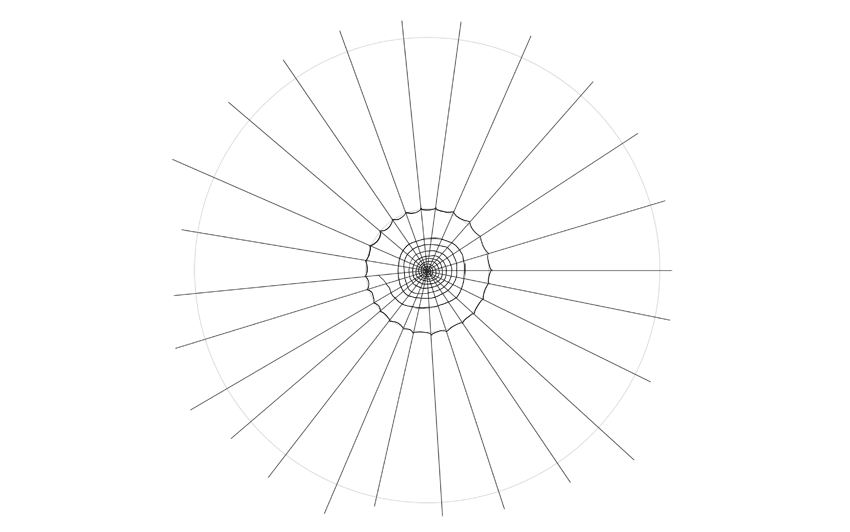 spider web drawing arched circle