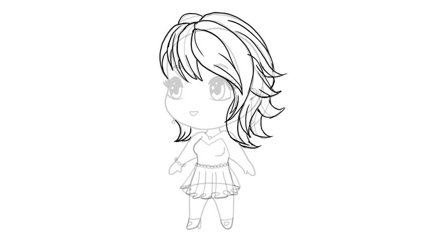 drawing chibi haircut details