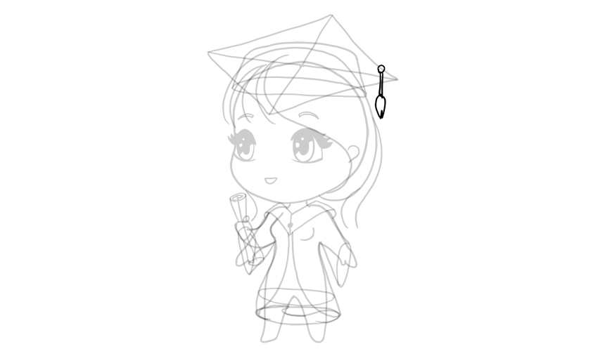 drawing chibi cap tassel
