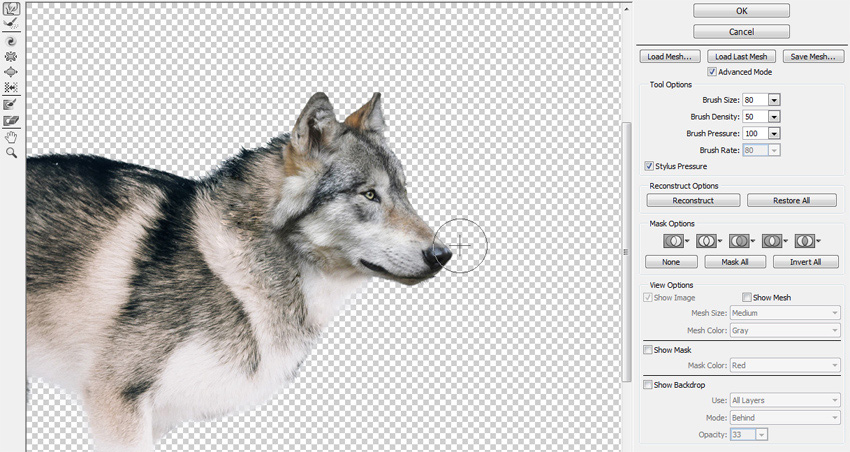 liquify filter window