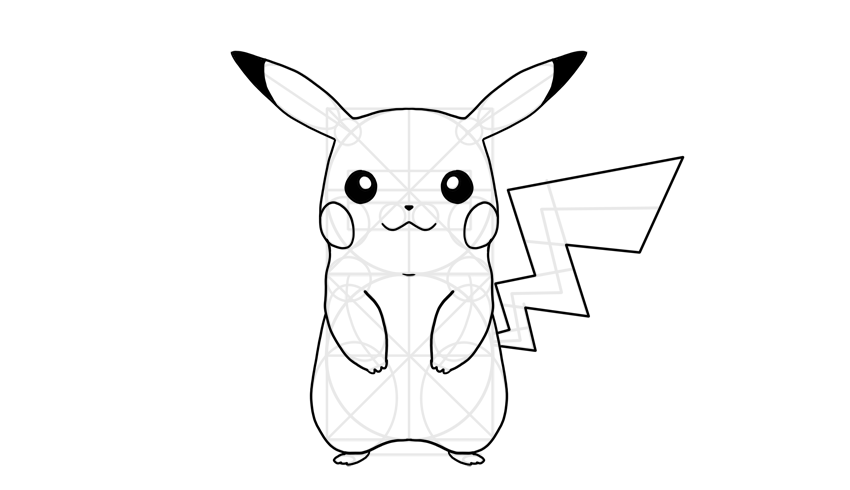 Outline pikachu body outline pikachu details