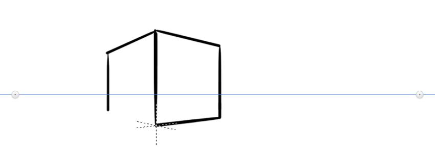 sketchbook drawing in perspective