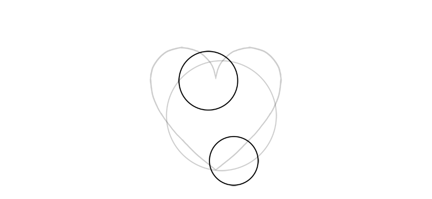 draw two smaller circles