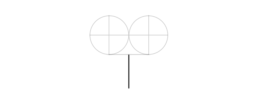 draw a vertcial line under circles