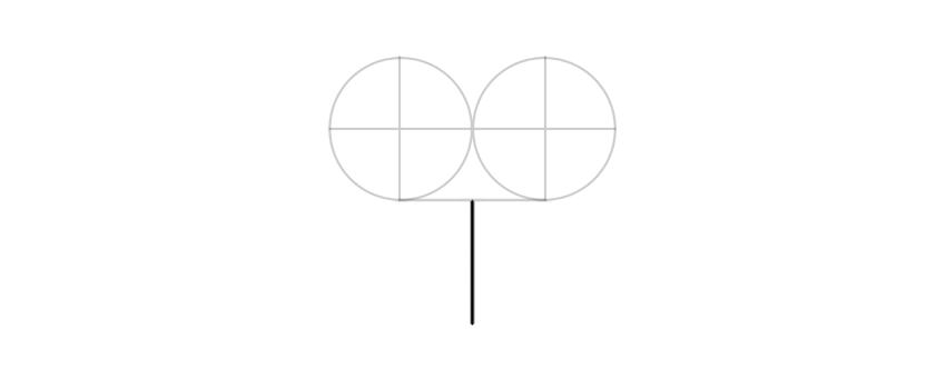 dibuja una línea vertical debajo de los círculos