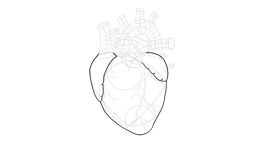 how to draw stitches on a heart