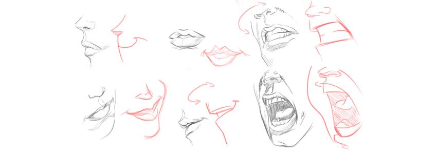 how to draw cartoon lips