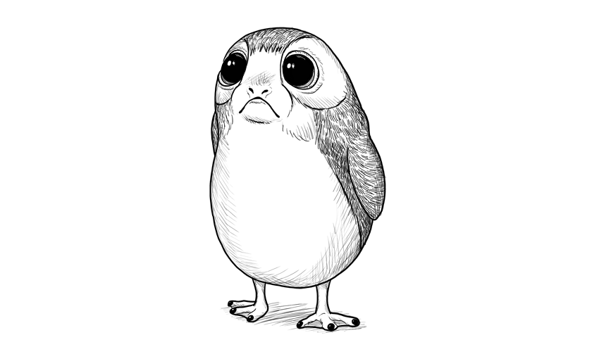 how to draw porg step by step