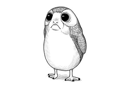 how to draw a porg from star wars