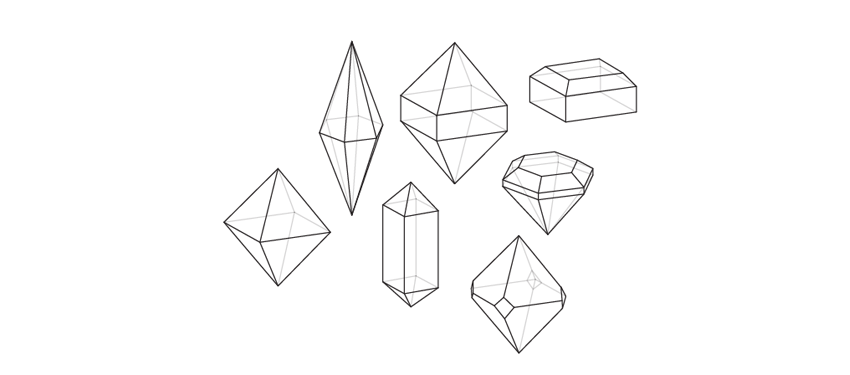 how to draw various crystals