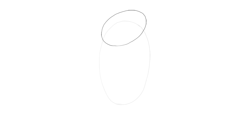 draw oval for shoulders