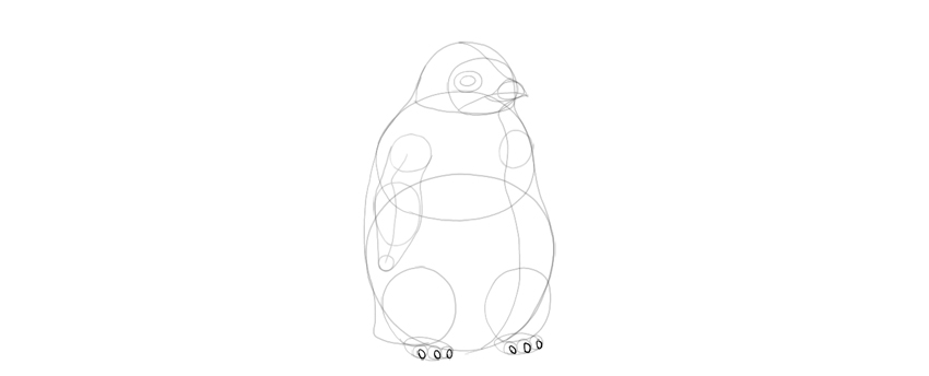 how to draw the wings for a pengui