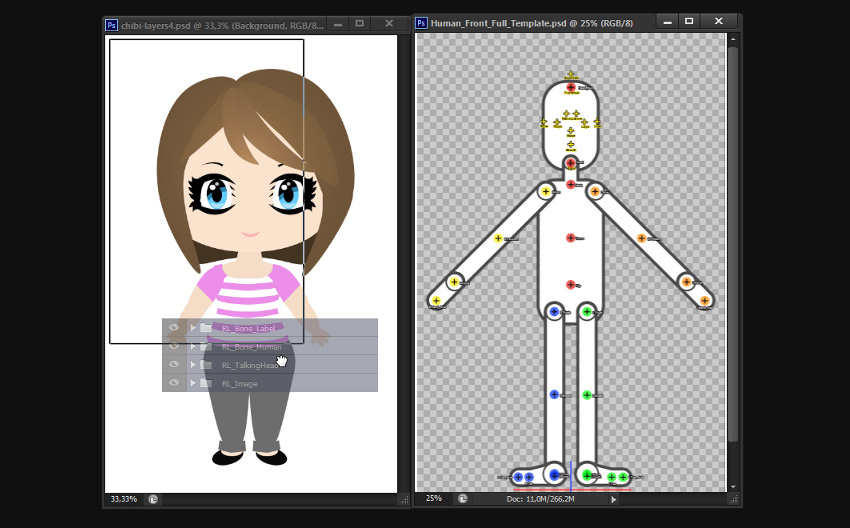 drag template layers to chibi