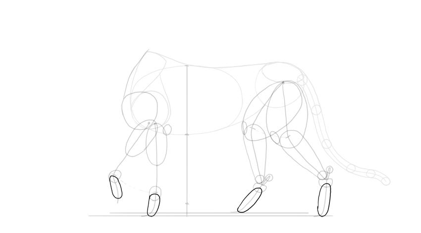 sketch outline of feet