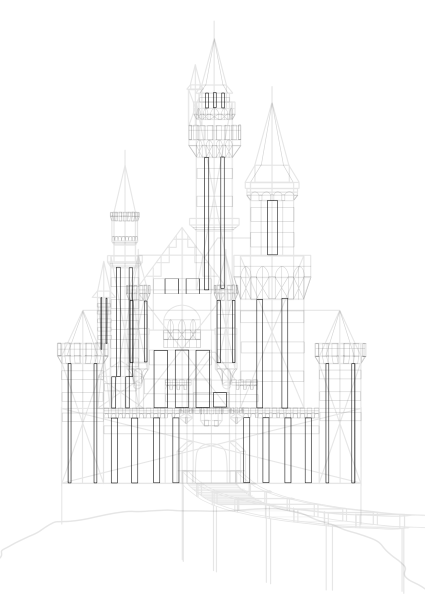 how to draw net of a castle