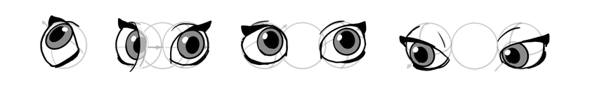 how to draw rotated disney eyes