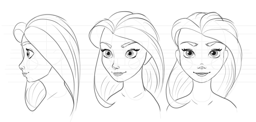 how to draw disney face