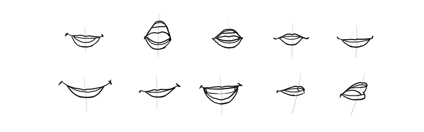 how to draw inside of lips