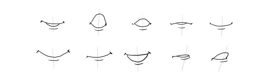 how to draw corners of mouth