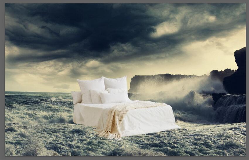paste bed into scene