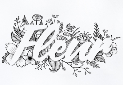 Floral typography tutorial preview