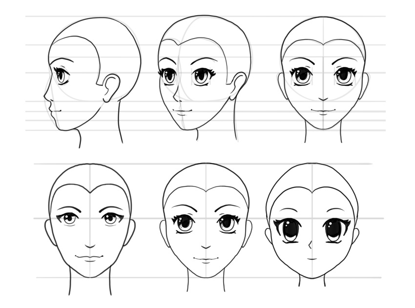 It's just a photo of Shocking Drawing Anime Faces For Beginners