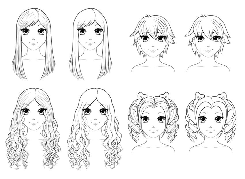 Bagaimana Draw Anime Hair