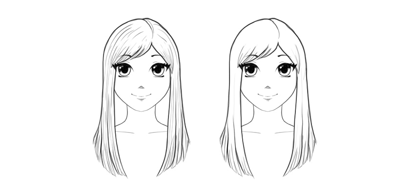 How to draw anime straight hair step by