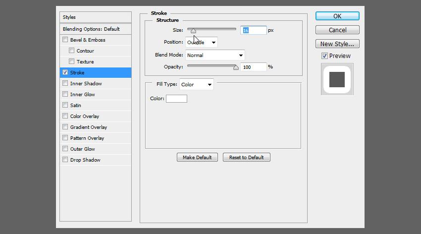 change size od outline