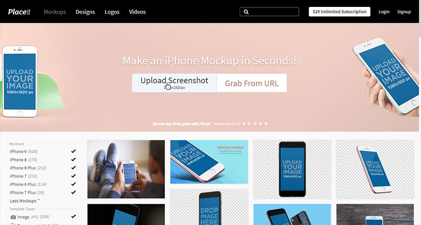 upload screenshot for mockup
