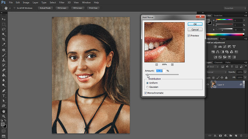 how to add noise to photo