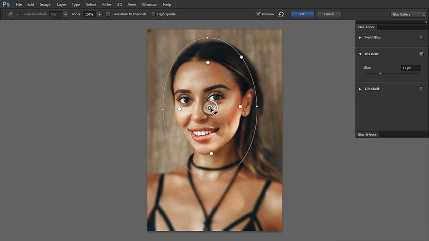 how to blur part of image