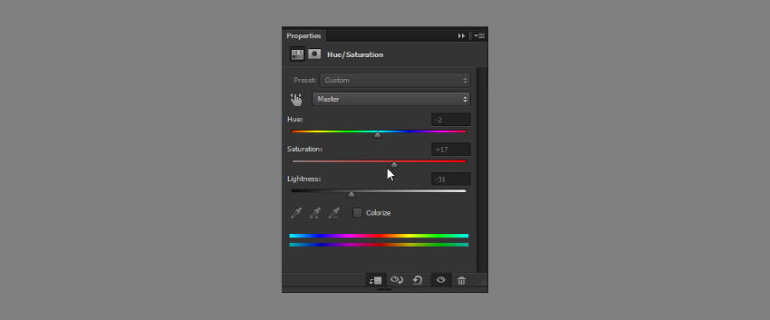 add shadows with hue saturation