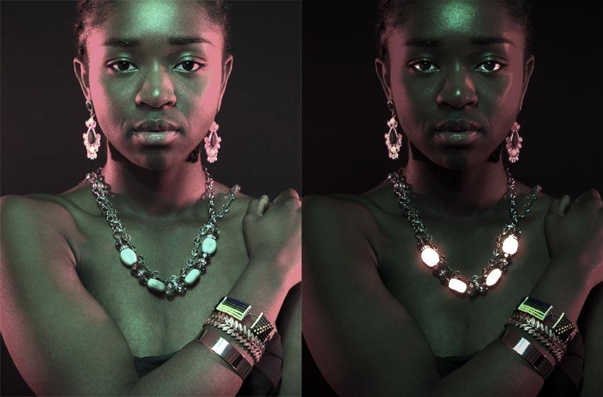 glowing jewelry photoshop