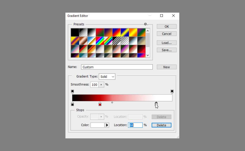 add black red white gradient