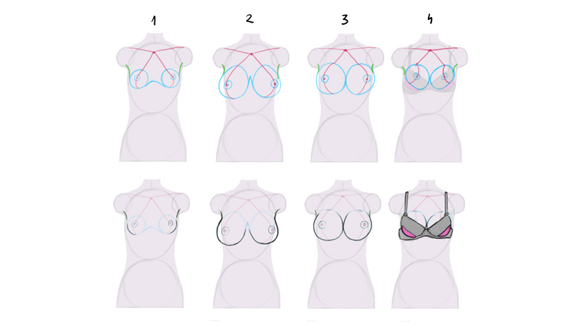how to draw breasts sizes