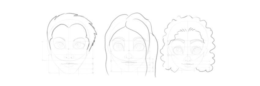draw cartoon hair