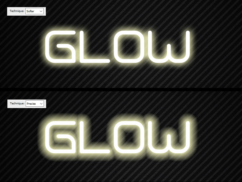 precise softer outer glow diffference