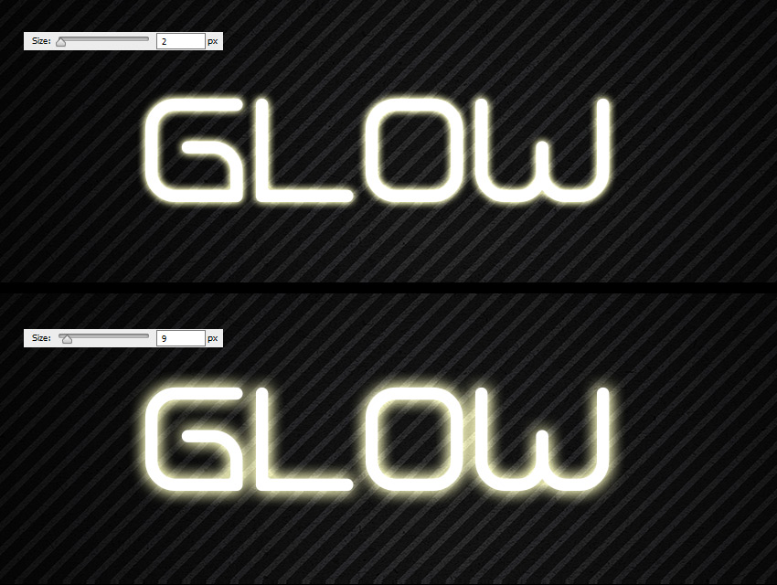 size glow difference