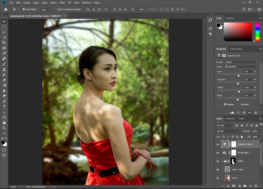 selective color photoshop