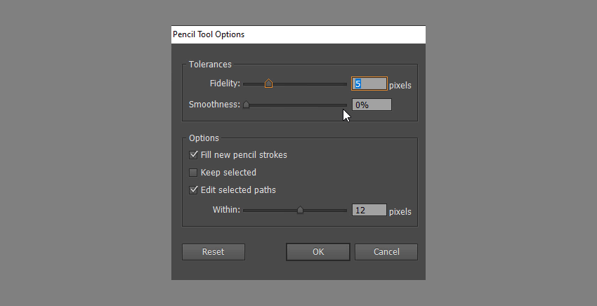 change pencil tool options