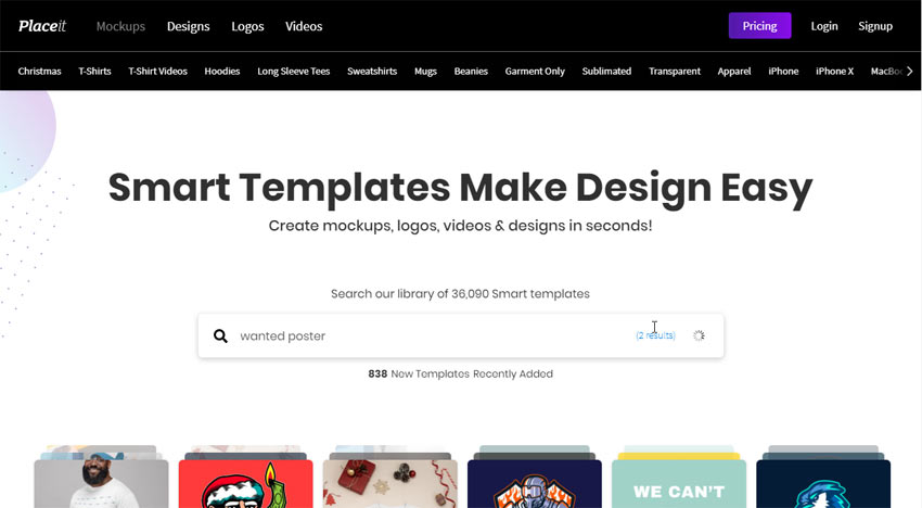 placeit homepage