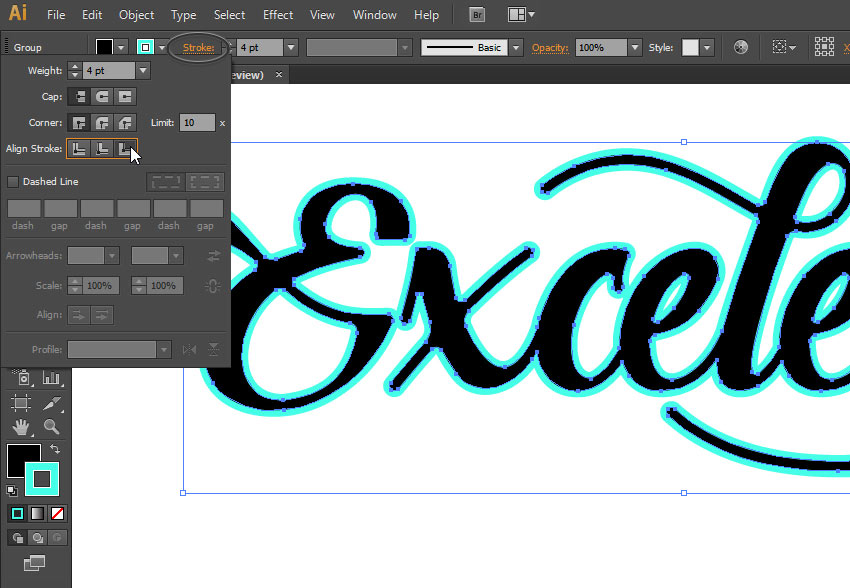 convert text to shape illustrator