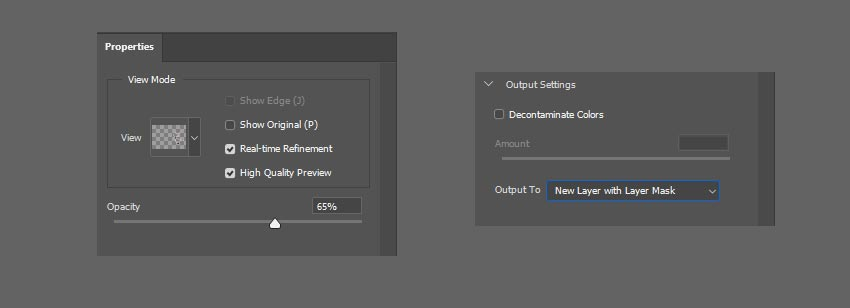 refine mask output settings