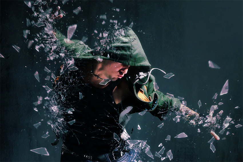 broke glass dispersion effect photoshop